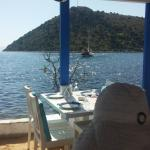 View of Gumusluk Bay and the Agean Sea from the restaurant's tables