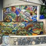 Colorful mosaic fountain in the courtyard.