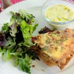 Quiche Lorraine with Potato Leek Soup and Salad with balsamic