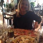 Salmon salad and vip pizza