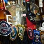 Police patches collected on the bar