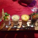 Fish Shots: Spicey Prawn Cocktail, Haddock Chowder, Potted Crab, Smoked Salmon. Amazing!!