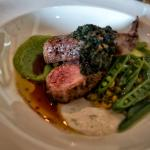 "fennel dusted lamb chop with saffron risotto, peas, cumin yogurt and ""wild"" pesto"