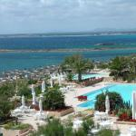 Blick vom Hotelbalkon zum Pool