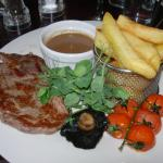 Rib-eye steak, peppercorn sauce
