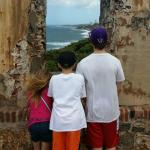 My beautiful kids on watch from the fortress!