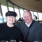 Photo of Dale and Betty Alsager with view from Sky City Restaurant by Pam Briggs South Africa