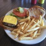 Cheeseburger and fries. They sure don't skimp on the fries like other places in Nome.
