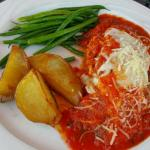 Eggplant parmegiana and spaghetti with meat sauce