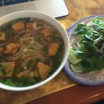 tofu pho and side veggies