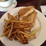 Fried Green Tomato and Pimento Cheese Sandwich with Fries