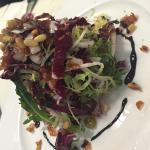 Frisee & radicchio salad with crispy prosciutto and toasted pine nuts