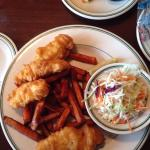 Cod fish and chips with sweet potato fries