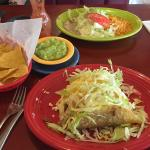 Hard beef tacos and chicken soft chimichanga