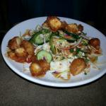 Fish tacos, Thai chicken salad-half