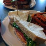 The Marianna (pimiento cheese) with sweet potato fries and the Hollybourne (turkey, ham, cheese,
