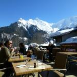 view of Mont Blanc from the terrace showing proximity to ski-lift