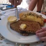 Omelette with freshly baked bread