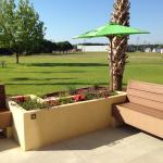 Part of the outdoors patio area