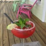 delicious strawberry mojito on our deck