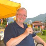 Enjoying a beer in the garden