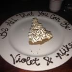 A complimentary dessert for having served our country was a treat offered to my husband and I, W