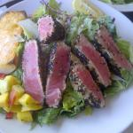 Succulent and generous tuna on salad