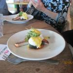 Eggs Benedict with salmon fillet