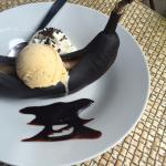 Dessert maisôn banane chaude chocolat vanille