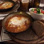 Classic shakshuka and home brewed apple cider - delicious!