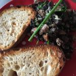 Fried mushrooms with spinach and sour dough toast