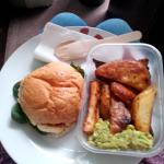 hallumi burger with roast potatoes and guacamole