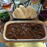 Beef Goulash: stew meat with red cabbage, green beans, and bread (17.50)