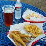 Fish and chips and swordfish taco