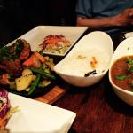 Lamb steaks and masala goat curry with basmati rice side dish. $45