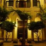 The lovely courtyard at Riad Blanc, lit up at night.