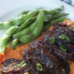 roasted beef short ribs with sweet potato and edamame