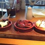 Lamb koftas, meatballs and bruchetta with goats cheese.