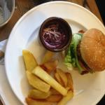 Delicious Pulled pork burger and chips