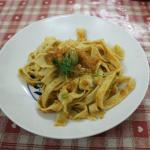 Delicious pasta served from our cooking class