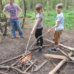 Making a fire in the Bush Craft area