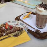 Beautiful hot chocolate and Dulce de Leche cake