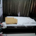 Hotel room with low level beds
