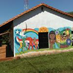 Mural on side wall.