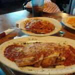 Tuesday special.  Eggplant Parm $11. and it comes with soup or salad.  You get spaghetti and cri