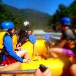 Raft, helmets, life jackets