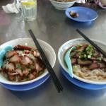 Dry Kueh Teow with sauce (on the left), Kueh Teow with soup (on the right)