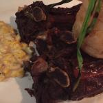 Beef ribs with creamed corn and buttermilk onion rings