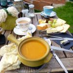 homemade soup and a ploughmans