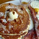 pecan pancakes, egg and smokey bacon